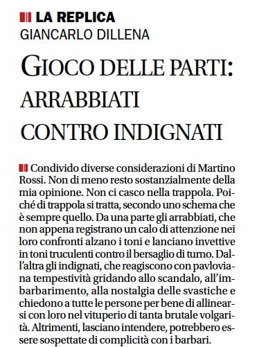 """""""Gioco delle parti: arrabbiati contro indignati"""", Corriere del Ticino, 21 settembre 2010"""