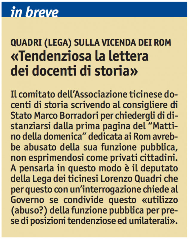 """""""Quadri (Lega) sulla vicenda dei rom"""", Giornale del Popolo, 20 settembre 2010"""