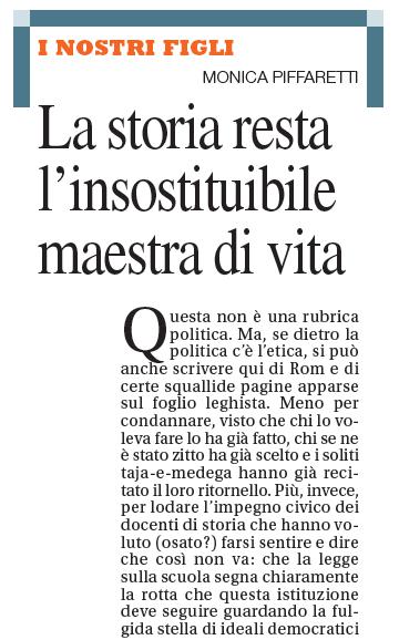 """""""La storia resta l'insostituibile maestra di vita"""", Il Caffè, 10 ottobre 2010"""