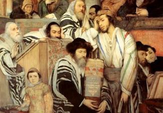 Ebrei pregano nella Sinagoga durante lo Yom Kippur (Dipinto di M. Gottlieb, 1878)